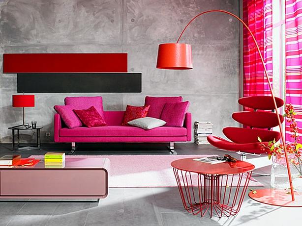 Salon rose et rouge.