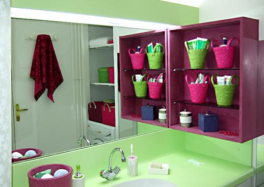salle de bain Rose et verte