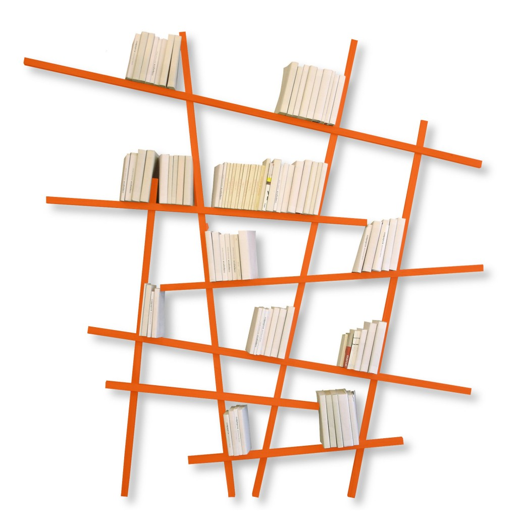 Bibliothèque murale à suspendre Mikado déco orange Compagnie