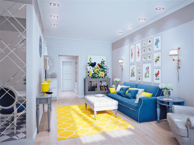 Peinture bleu chambre adulte for Salon jaune et bleu