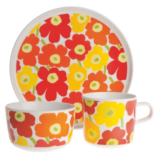 Mug et plateau marimekko fleurs déco orange