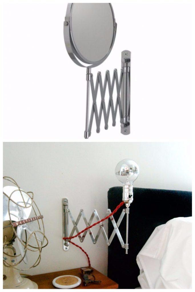 ikea hacks miroir transformé en lampe chevte