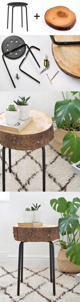 tabouret ikea hack table basse DIY rondin - blog déco - clem around the corner