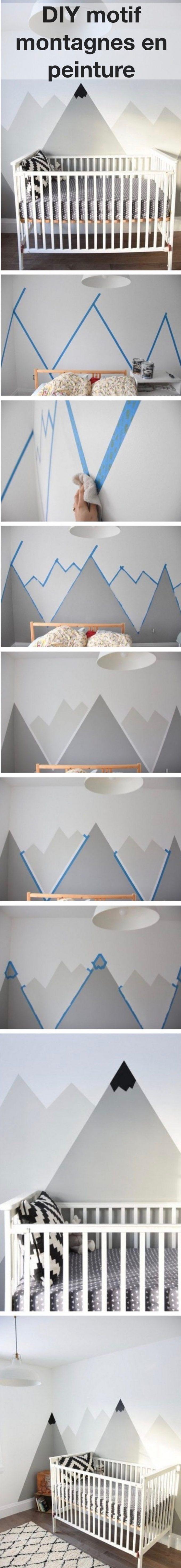 DIY peinture motif montagne tutoriel clemaroundthecorner