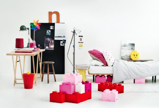 Boites de rangement roses storage box brique géante. Chambre de filles et Lego rose.
