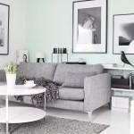 vert menthe séjour gris et blanc scnadinave