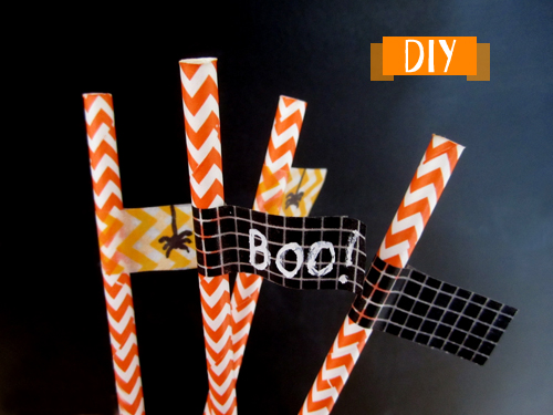 DIY pour Halloween pailles chevron orange