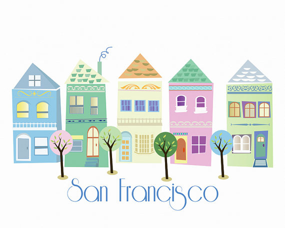 Affiche maison victorienne San Francisco desiin Etsy.