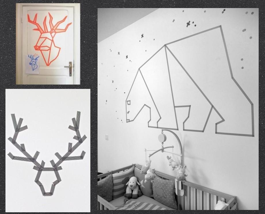 déco Masking tape sur les murs DIY deer renne ours