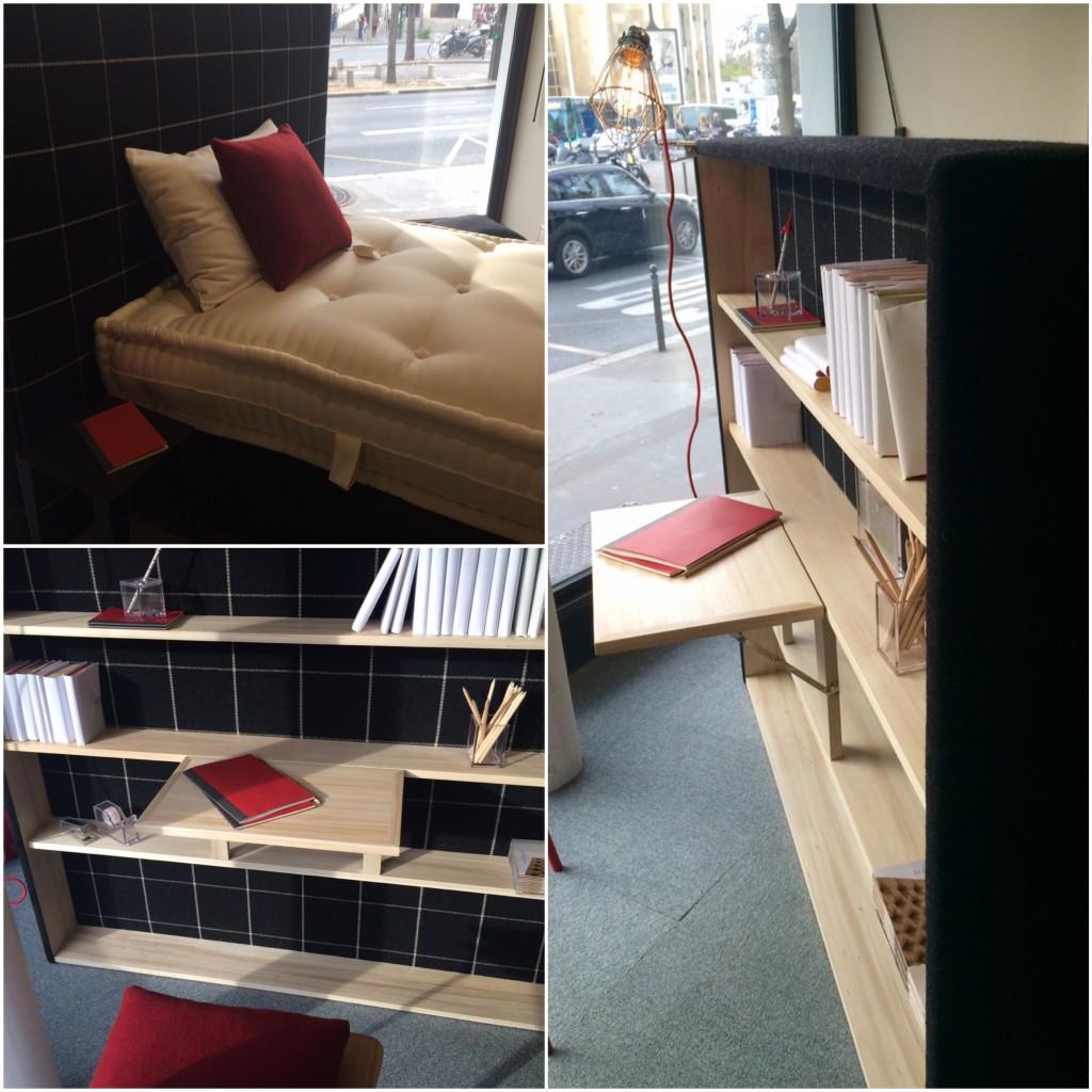 Lit studio avec bibliothéque et bureau au verso de la tête de lit