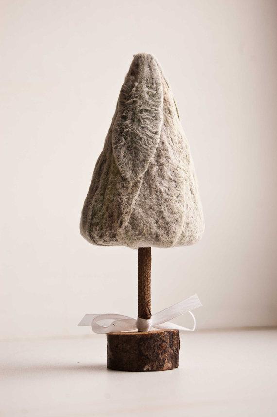 Mini sapin de Noël en bois et velour,15cm by florasense -