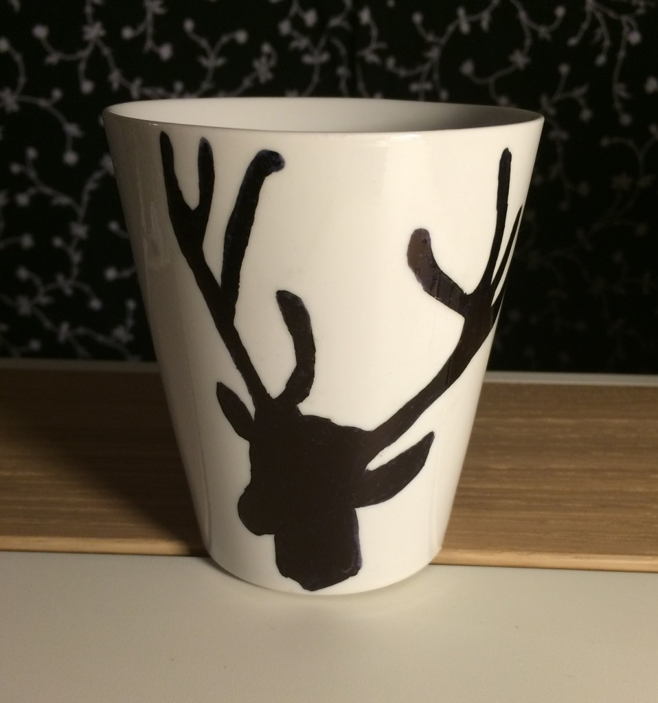 tuto DIY mug tête de cerf renne dessin sharpie feutre