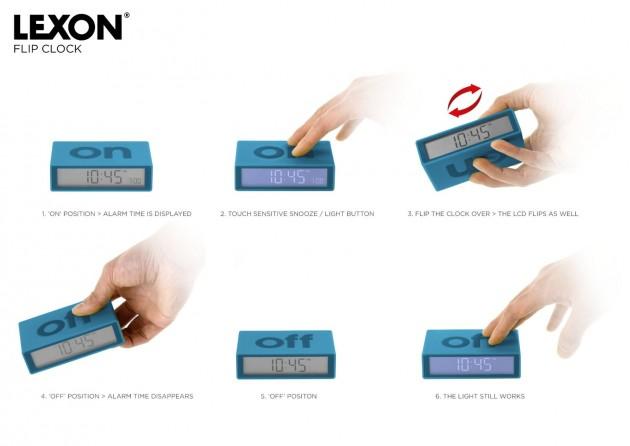 fonctionnement reveil on off design caoutchouc carre cube lexon
