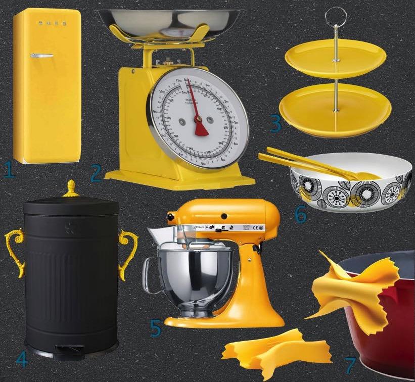 Carnet d 39 inspiration pour cuisine jaune clem around the for Accessoire cuisine jaune