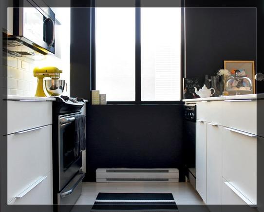 Black and white kitchen yellow kitchenaid
