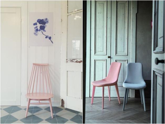 chaise rose quartz et serenity blue bleu