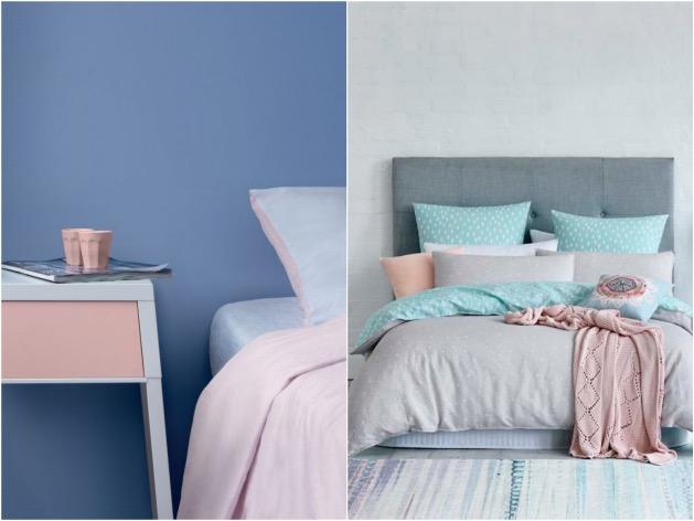 chambre rose quartz et serenity blue bleu