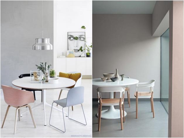 salle a manger chaise rose quartz bleu serenity
