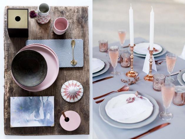 table mariage rose et bleu clair pastel