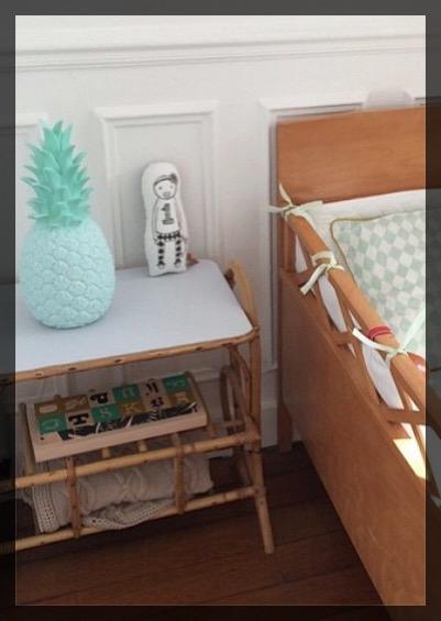 Chambre enfant vert menthe.
