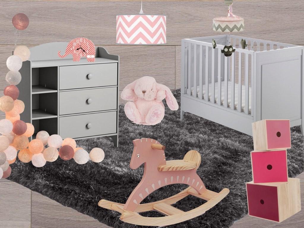 Inspiration chambre bébé fille rose et grise