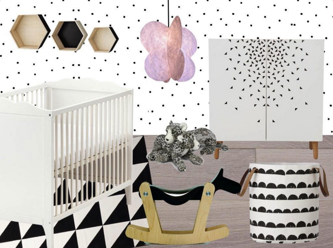 Inspiration chambre b b fille blog d co clem around the for Deco de chambre noir et blanc