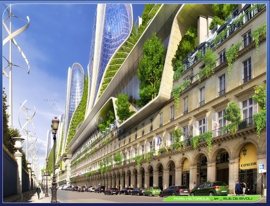 paris smart city 2050 MOUNTAIN TOWERS : Rue de Rivoli.