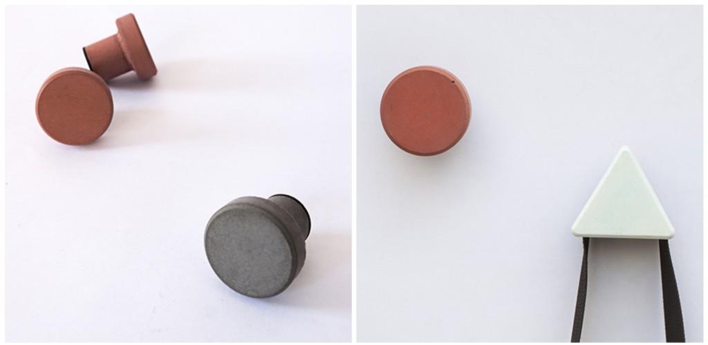 Bentu Design : Objets design à partir de matériaux de construction recyclés. www.clemaroundthecorner.com. Patère en béton et ciment recyclé.