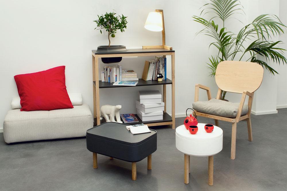 SAlon par Bellila design francais. Pot de fleur intégré dans le meuble, bois. www.clemaroundthecorner.com