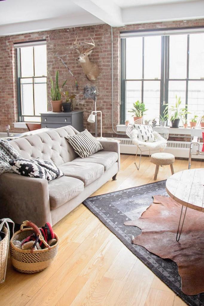 Loft style indus Brooklyn. Intérieur industriel. Visite www.clemaroundthecorner.com
