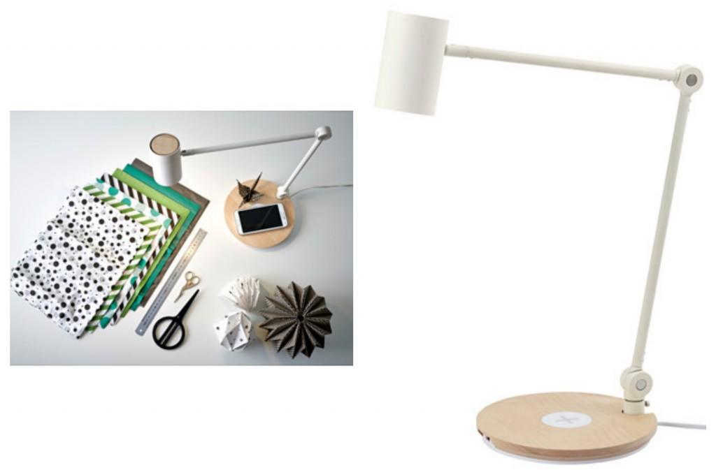 wireless IKEA meubles avec chargeur intégré station home smart. www.clemaroundthecorner.com. lampe chargeur station sans fil.