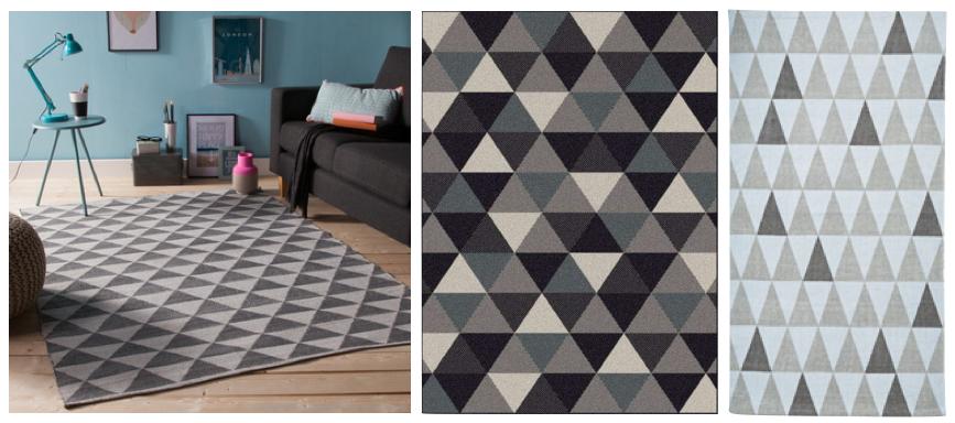 Beaux tapis triangles noirs et blanc, gris.