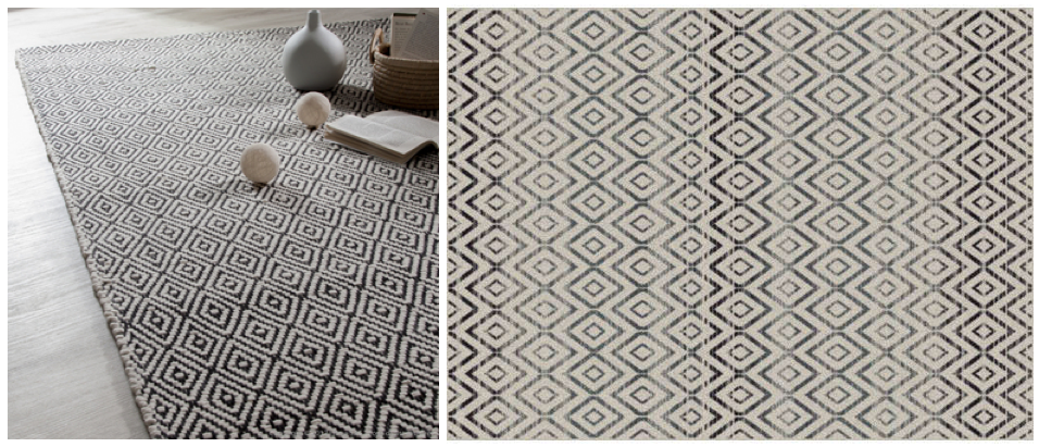 Des tapis au motifs géomètriques pas chers. Caldo d'Akhal et Dune chez Conforama.
