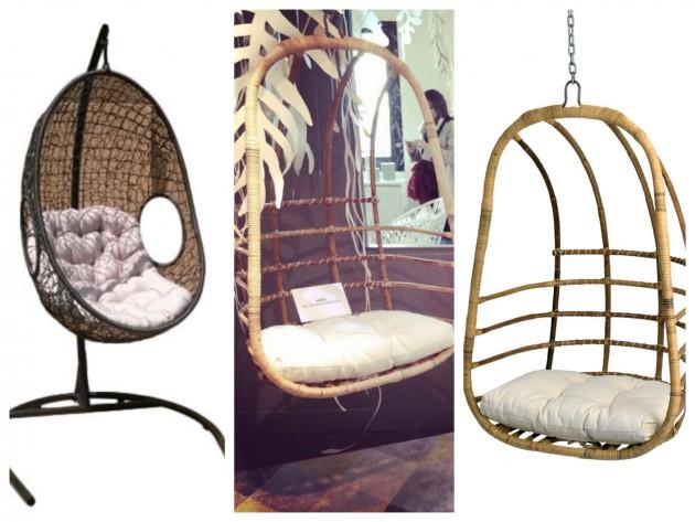 Fauteuils supendus Conforama et Confodeco. Le fauteuil de gauche n'est disponible qu'en boutique.