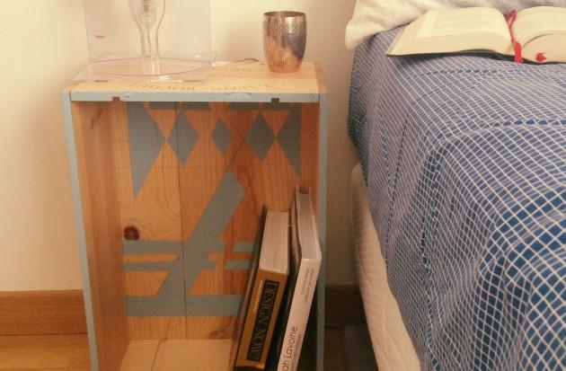 Une table de chevet en caisse à vin. DIY fabriquer une table de nuit avec une caisseà vin, recycler.