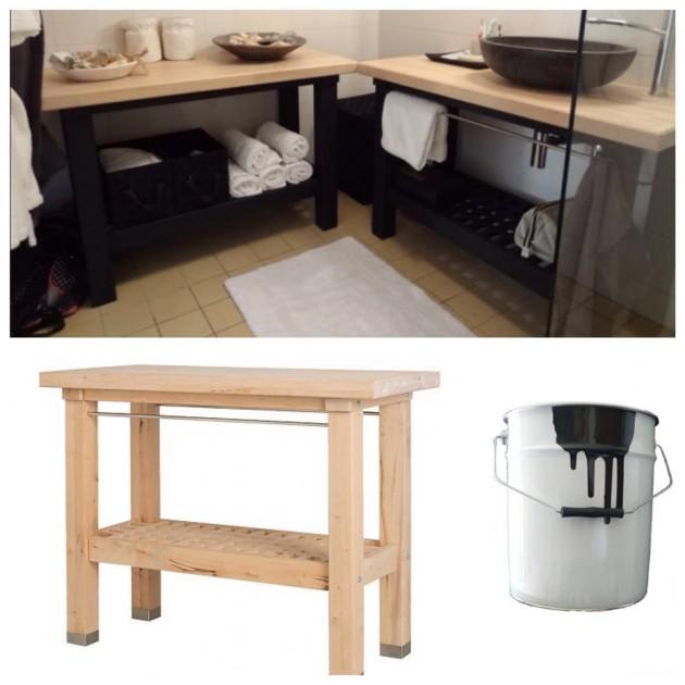 Un meuble de salle de bain en bouleau avec desserte IKEA