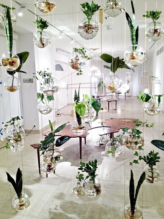 Un mur de mini pots de fleurs en verre. www.clemaroundthecorner.com