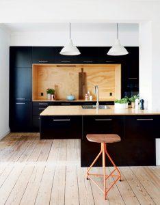 cuisine noir mat panneau bois brut