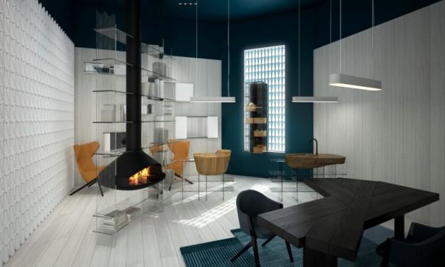 La cuisine-bibliothèque de Patrick Norguet. Une bibliothèque qui intègre une cheminée et un évier.