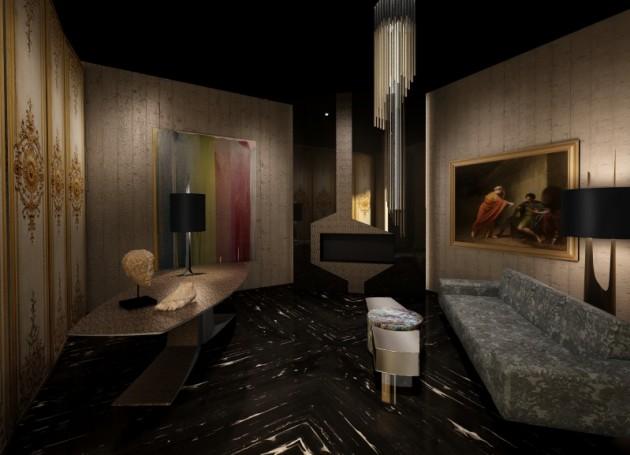 Le cabinet d'esthète de Thierry Lemaire. Un pointu mélange des genres, cheminée en acier et pièces antiques.