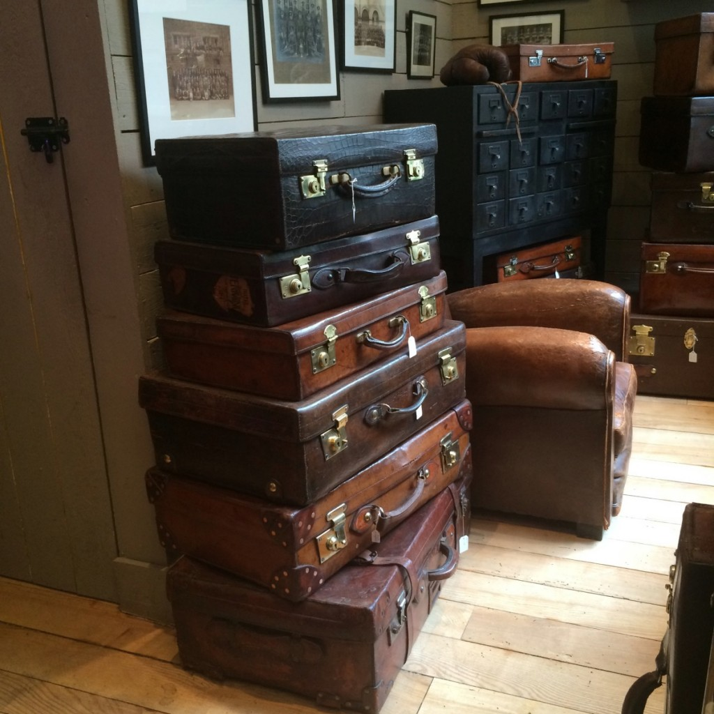 Valise deco decoration cuir vintage