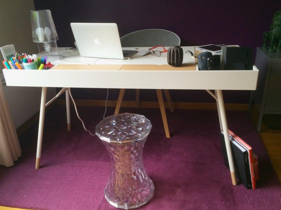 Vue d'ensemble le coin bureau d'une blogueuse déco