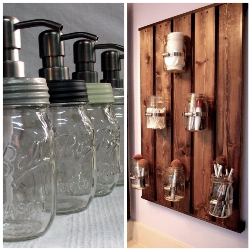 ball mason jar dans la salle de bain savon rangement