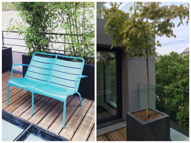 toit terrasse rooftop paris 11 fermob luxembourg banc turquoise