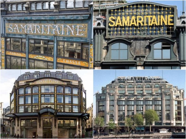 La samaritaine Paris melange architecure art nouveau art deco.