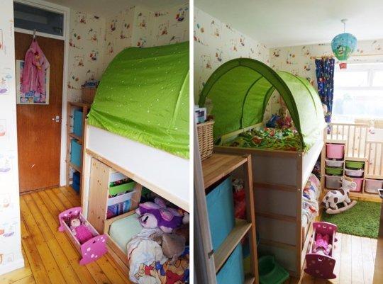 IKEA kura tente dans un lit d'enfant.