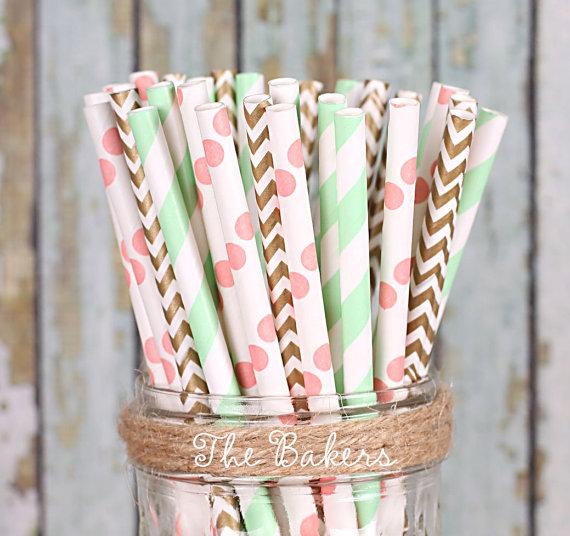 Pailles en papier rose corail vert menthe mint or chevrons pois.