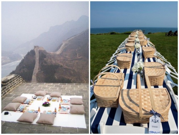 pique-nique avec vue sur la plage sur la grande muraille de chine