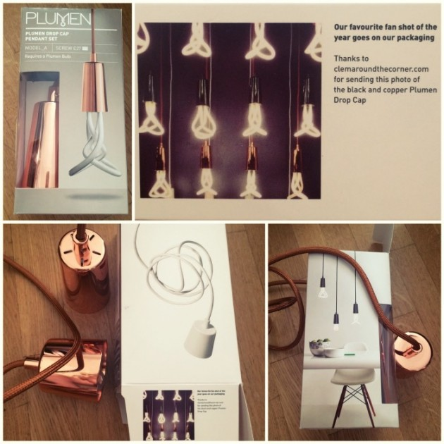 Clem around the corner x plumen packaging lamp drop cap.