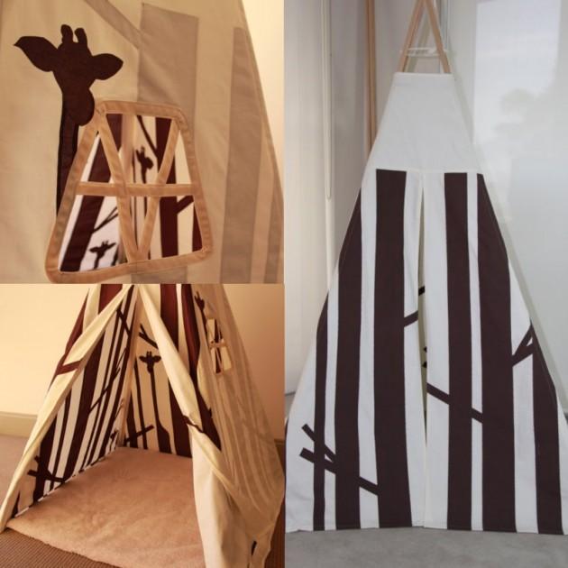 tipi pour une chambre d'enfant girafe savane noir et blanc.